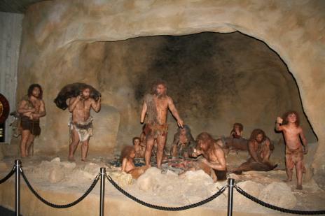 Creepy Exhibit from the Krapina Neanderthal Museum in Krapina, Croatia, Interior.