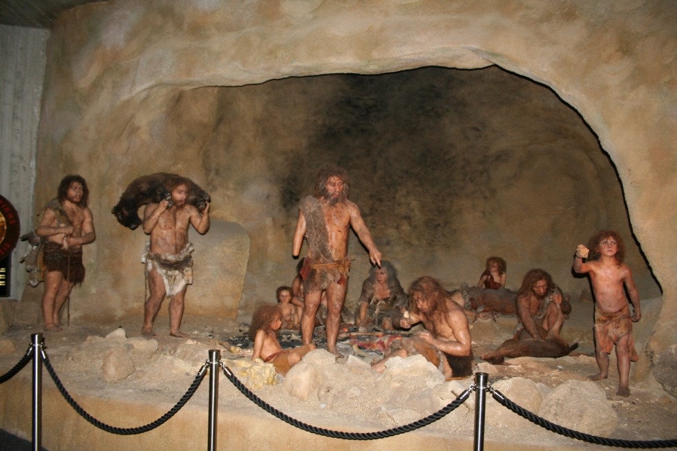 Creepy Exhibit from the Krapina Neanderthal Museum in Krapina, Croatia, Interior.